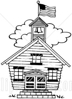 36381-Clipart-Illustration-Of-A-Flag-Atop-The-Bell-Tower-Of-A-One-Room-School-House